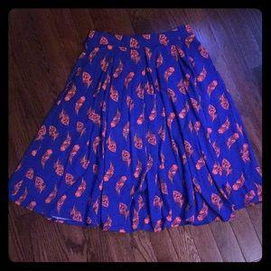 LuLaRoe Madison peacock feather print skirt